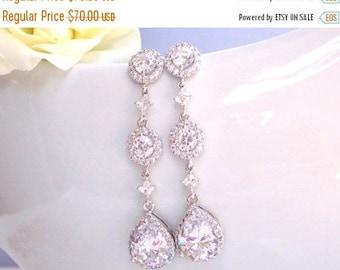 SALE Wedding Jewelry, Silver, Cubic Zirconia, Bridal Jewelry, Bridal Earrings,Wedding Gifts, Bride Earrings,Bridesmaid Earrings, Dangle,Long