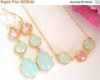 SALE Bridesmaid Jewelry, Coral, Light Mint and Mint Set of Earrings and Necklace,Gold Filled, Briidesmaids Gifts, Pendant Set, Long, Dangle,