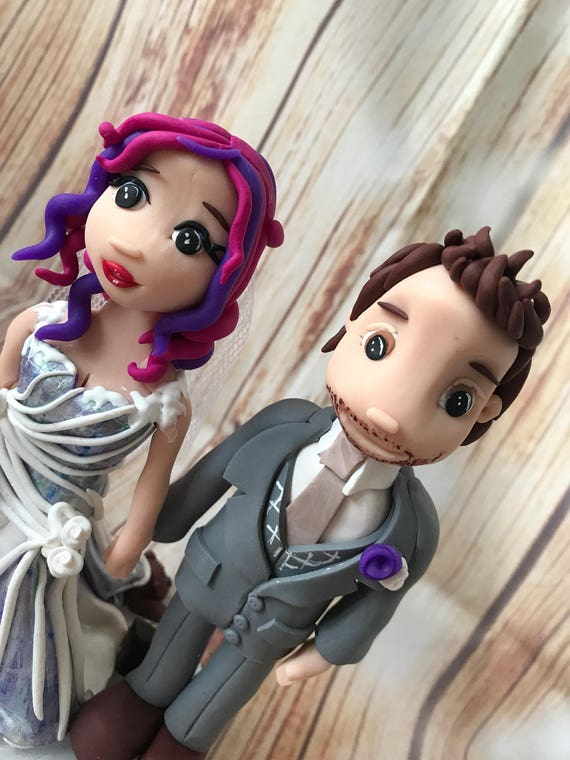 Fully personalised rock and roll bride clay Wedding Cake Topper highly detailed and fully sculpted Keepsake - Bespoke Premium Service