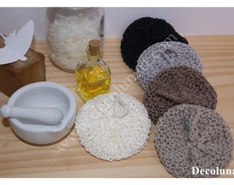 Eponges japonaises tawashis zéro déchet  réalisées à la main  en fil de lin et de coton