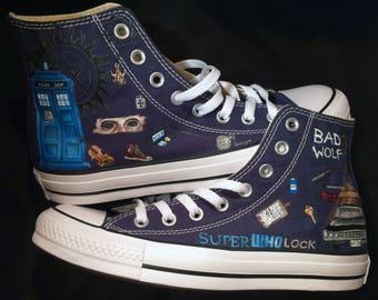 SuperWhoLock shoes! Hand painted custom Supernatural Doctor Who Sherlock Converse sneakers