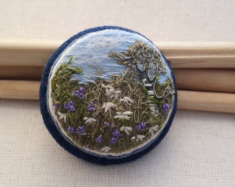 Meadow Brooch, Embroidered brooch, gift for her, floral brooch, blue jewelry, handmade jewelry, embroidered landscape