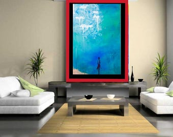 Blue Rhapsody U003dLarge Modern Art Abstract Painting Original Painting Canvas Art  Modern Art Living Room Part 97
