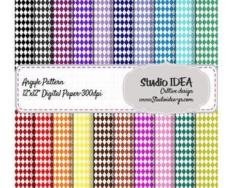 """Argyle Pattern Digital Scrapbooking Paper 12""""x12"""" -300dpi-Digital Design Paper-INSTANT DOWNLOAD"""