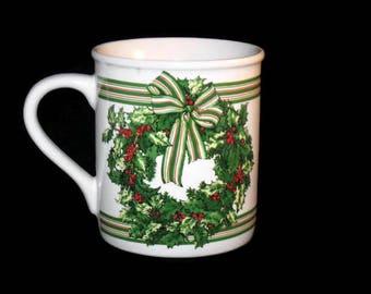 Vintage Hallmark Mug, Christmas Wreath Mug, Christmas Mug, Holiday Cup, Collectible Mug, Coffee Cup