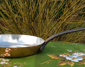 Refurbished Vintage French Cuivre Copper Frying Pan Skillet  Sauce Sauté Pan Brand New Tin Lining Cuisine Kitchenalia
