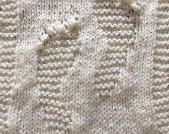 Baby Footprints Blanket Knitting Pattern PDF ONLY.