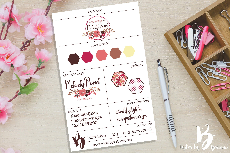 premade logo floral logo photography logo boutique logo shabby chic logo
