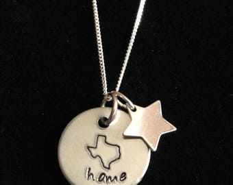 Texas small hand stamped simple necklace in aluminum and sterling silver