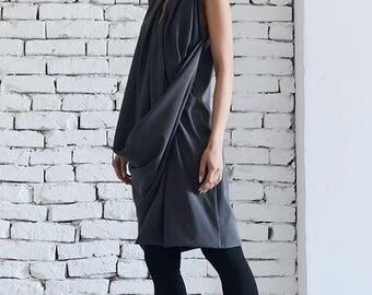 ON SALE Dark Grey Dress / Asymmetric Dress/  Short Grey Tunic / Long Dark Grey Top / Extravagant grey dress