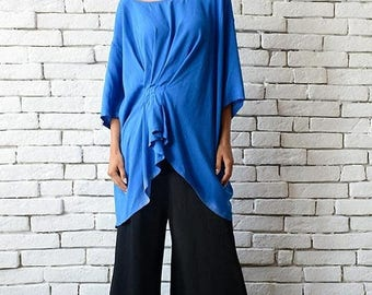 ON SALE NEW Blue Asymmetric Tunic/Elegant Loose Top/Maxi Blouse from Soft Viscose/Oversize Blue Top/Formal Evening Blouse/Blue Work Shirt/Lo