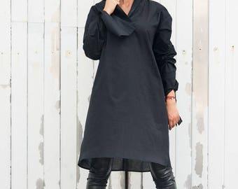 ON SALE Black Oversize Shirt/Long Loose Tunic/Long Sleeve Black Top/Black Maxi Tunic/Oversize Tunic Top/Plus Size Long Shirt/Black Tunic Dre