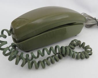 Avocado Green Trimline Rotary Phone Western Electric with Original Cord