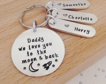personalised keyring, keychain, gifts for dad, husband gift, boyfriend gift,  daddy and son, dad gifts, daddy, Fathers Day gift, grandad, UK