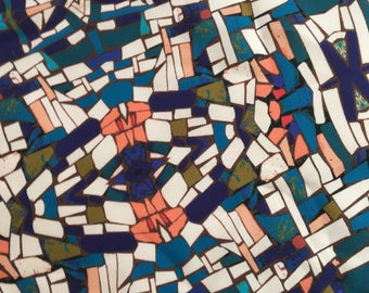 1.75 Yards Colorful Geometric Silk Fabric by the Yard, Fabric by the Yard, Silk Yardage, Yardage