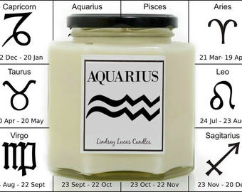 Aquarius Candle, Aquarius Gift, Gift For Aquarius, Horoscope Candle, Star Sign Gift, Star Sign Candle, Zodiac Candle, Horoscope Gift