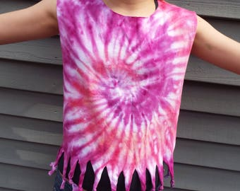 Girls Fringed Tie-Dye Shirt, Kids medium tank top with hippie fringe, altered t-shirt, fringed tank, hippie party, beach shirt, boho tee