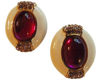 Elegant Creme and Gold Enamel Clip Earrings Vintage 1980 Bridal Earrings