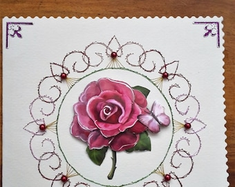 Rose - hand made 3D card