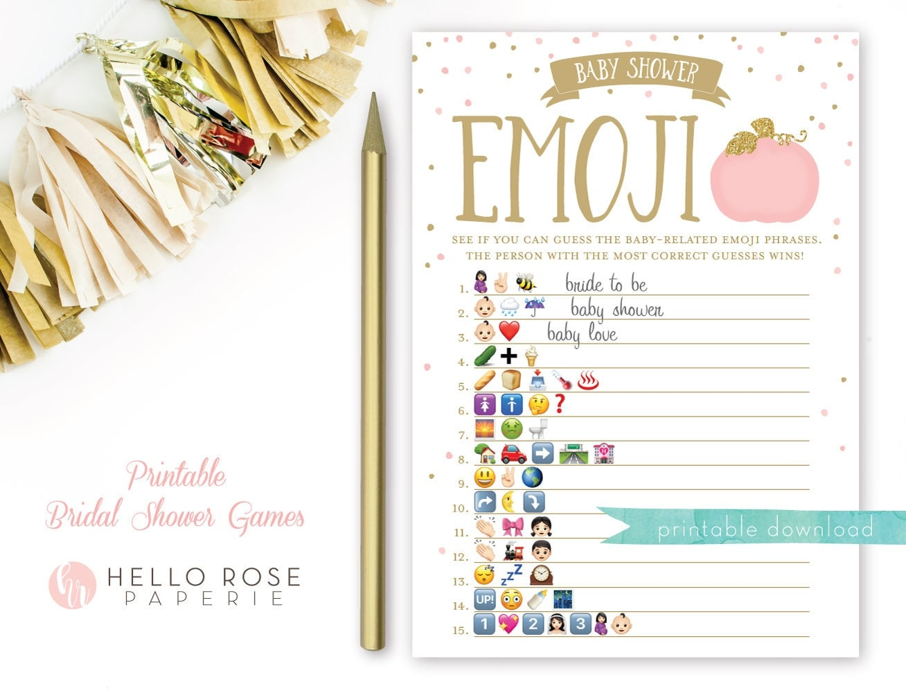 Pumpkin Baby Shower Emoji Pictionary Game . Pink and Gold Baby