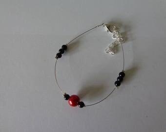 Bracelet beads dark red wire hypoallergenic available on wedding