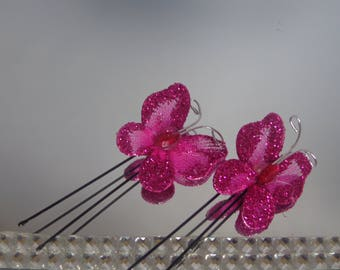 SET of 2 pins butterflies Fuchsia wedding maid of honor
