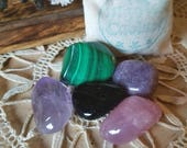 Empath Crystal Kit, Healing Crystals for Empaths to help bring spiritual peace and calm in a easy to carry muslin bag, Metaphysical Crystals