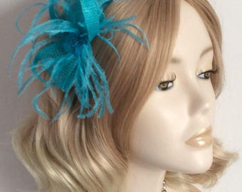 TURQUOISE SINAMAY FASCINATOR, with Organza beaded detail, Feathers,on a comb