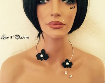 Aluminum Black Orchid wedding necklace * lace 3 * custom