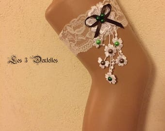 White lace wedding garter * flower lace * custom