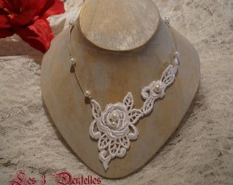 Wedding lace White Pearl Necklace * 3 lace *.