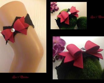 Garter wedding lace black bow model pin custom * 3 lace *.