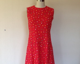 1960s Red cotton shift dress