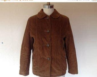 SALE 1970s Brown corduroy jacket with Peter pan collar