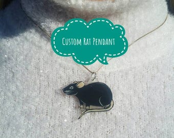 Custom Pet Rat Pendant with Optional Gold or Silver Chain