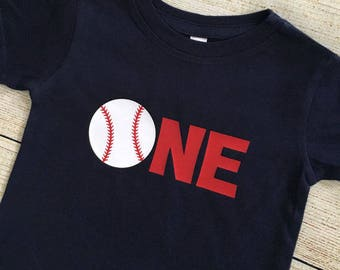Baseball ONE or TWO Birthday Shirt | smash cake | boy | red, white, blue | First Birthday | Second Birthday | All American