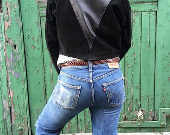 Genuine 80s leather and suede cropped jacket