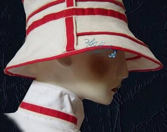 chic summer hat, metis linen sand beige and red, 60-61-cm-XL, elegance, a retro, Sun