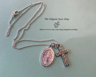 Miraculous Medal and Cross on an Adjustable Necklace