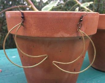 Large Brass Moon Earrings