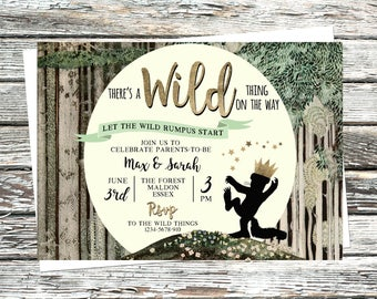 Personalised Where the Wild things are Baby Shower Invitation, Enchanted Forest Stars invites, Moon, Gold, Trees, Matching files available