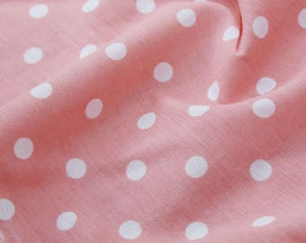 clothing fabric cotton pink white polka dots 3 m