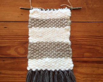 Rustic Tapestry Weaving in Neutral Colors Taupe Tan Cream
