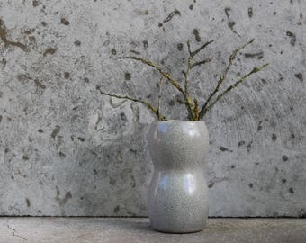 Soviet Vintage Ceramic Vase, Small Glazed Gray Pottery Vase, Collectible.
