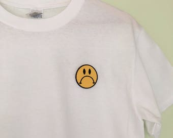 Frowney face embroidered patch white cropped t-shirt. Size M, UK 12-14