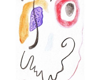 """Abstract watercolor print """"Smile"""" white frame way Miro painting watercolor abstract on smile"""
