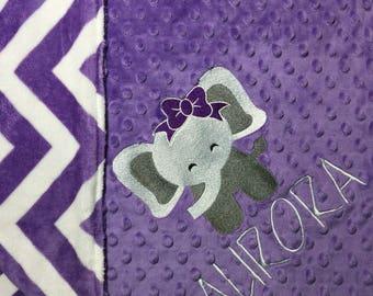 Elephant Baby Blanket Purple Child Blanket Adult Blanket Purple and White Chevron Blanket Personalized Baby Blanket Toddler Blanket Elephant