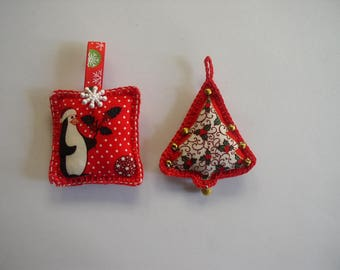 set of two red Christmas tree decorations