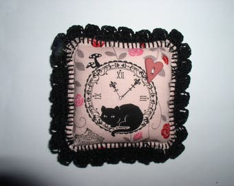 Pink and black pin cushion fabric and felt