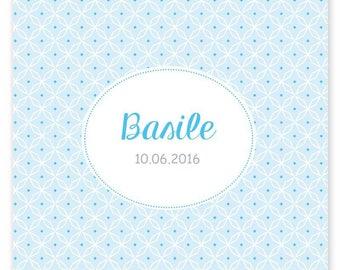 Faire-part de naissance Basile, graphique et moderne mixte, à personnaliser